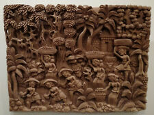 Bali, an intricate 3D sculpture in a thick wooden board, artist unknown