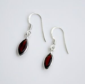 BOXED HANDCRAFTED STERLING SILVER 10MM X 5MM FACETED GARNET SMALL DROP EARRINGS