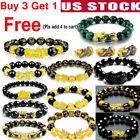 Feng Shui Green Onyx Black Obsidian Beads Wealth Golden Pixiu Lucky Bracelet rr
