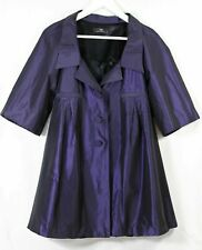 Cue aubergine purple swing coat with elbow length sleeves - 6