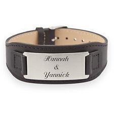 Echt Leder Herrenarmband mit Edelstahl-Schild schwarz mit persönlicher Gravur