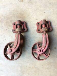 "Set of 2 Antique/Vtg CAST IRON INDUSTRIAL CART WHEELS Steampunk Railroad - 6"""