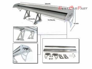 "Rtunes 55"" Type S Universal Aluminum GT Double Deck Spoiler Wing SILVER"