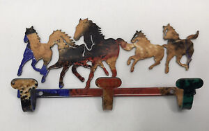Bright Enamel Multicolor Galloping Horses Key Holder With 5 Horses And 3 Hooks
