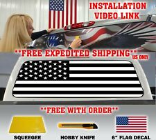 AMERICAN FLAG BLACK & WHITE PICK-UP TRUCK REAR WINDOW GRAPHIC DECAL PERFORATED