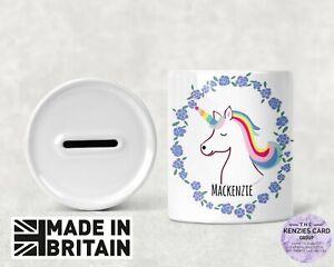 Personalised Any Name Savings Unicorn Flowers Money Box Piggy Bank