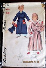 Vintage  SIMPLICITY Sewing pattern no.S37 Boys & Girls dressing gown size 3