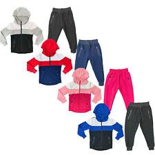 Boys Girls Kids Tracksuit Panel Jacket Joggers Jogging Bottoms Outfit Set