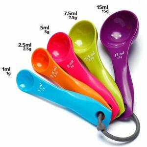 5pcs Colorful Plastic Measuring Spoons Set Kitchen Cooking Baking Tool Utensil
