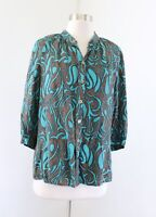 Trina Turk Teal Blue Brown Abstract Paisley Print Silk Button Front Top Blouse M