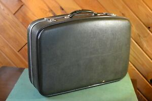 Vintage Mid Century Green Lite-Pac By Neevel Hard Side Suitcase w Key 24 x 16
