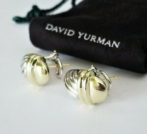 David Yurman RARE 14K Gold Thoroughbred Shrimp Cable Earrings - Mint Condition!