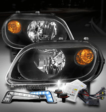 FOR 06-11 CHEVY HHR LS LT SS BLACK HEADLIGHTS LAMPS W/BLUE LED DRL SIGNAL+6K HID