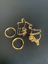 14k &10k Solid Gold Vintage Necklace & Hoops Lot 0.8 Gr!! NR
