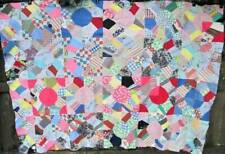 Antique FEEDSACK Quilt Top 100% Hand Stitched Cotton Scrap Crazy Patchwork 91x66