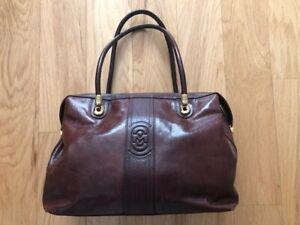 Marino Orlandi Large Cognac Brown Leather Handbag Tote Satchel