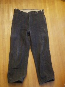 Vintage WOOLRICH Plaid Hunting Pants Wool Blend Dark Grey Red Green Mix Size 34
