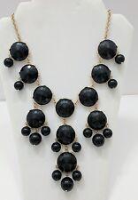 Black Stone Bubble Statement Bib Necklace Gold Tone
