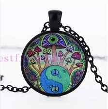 Mushroom Peace Sign Photo Cabochon Glass Black Chain Pendant Necklace