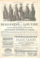 Réclame Pub Grand Magasin du Louvre à Paris Jupe Manteau Costumes GRAVURE 1882