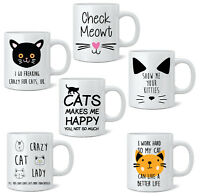 Crazy Cat Lady Novelty Mug Tea Coffee Mug Cup Gift 11oz Animal Cats White Mugs