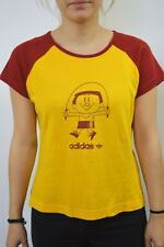 Adidas Originals Skip Yellow And Maroon Stretch Cotton Tee Shirt UK12/14 SUPER!