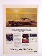 1967 Mercury Cougar Automobile Original Print Ad Gold