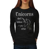 Wellcoda Unicorn Believe Womens Long Sleeve T-shirt, Funny Casual Design