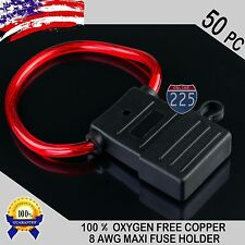 50 Pack 8 Gauge APX MAXI Inline Blade Fuse Holder 100% OFC Copper Wire 32V DC