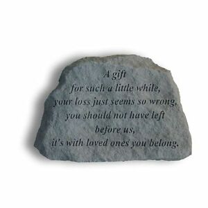Gift for while Memorial Garden Stone Plaque Grave Child Young Loss Miscarriage