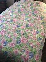 "Vintage Wamsutta Ultracale Twin Floral Design Flat Bed Sheet 66"" x 94"" Pink Blue"