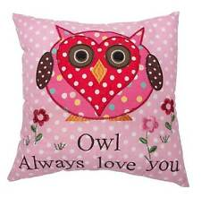 Delightful Pink Owl ~ Love You ~ Shabby Chic Cushion Pillow Cover With Insert