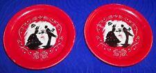 Set of 2 Vintage - Metal Bride & Groom Coasters