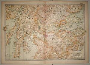 Map of Scotland Central Part ex-Britannica Encyclopedia 1903 few worm holes