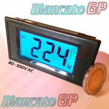 VOLTMETRO AC 80-500V LED BLU pannello 220V 380V eolico digitale solare domotica