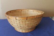 More details for large vintage circular wicker basket 33cms diameter 13cms deep