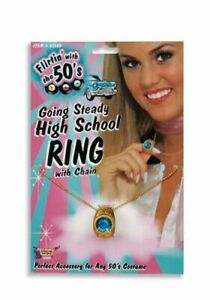 50'S 60'S GOING STEADY HIGH SCHOOL CLASS RING SOCK HOP COSTUME JEWELRY FM61545