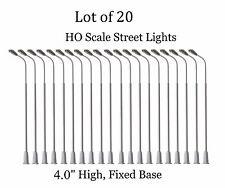 Lot of 20 HO Scale LED Model Train Street Lights - metal w/ fixed base #EE