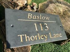 "Slate House Sign 300mm X 150mm/ 12""x8"" ANY NAME /ANY NUMBER High Quality"