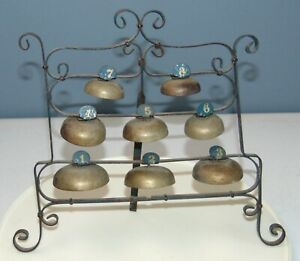 UNUSUAL ANTIQUE Musical Instrument BELLS Wrought Iron Frame