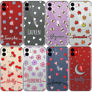 Personalised Phone Case For Samsung S21/S20/S10 Initial Flower/Heart Clear Cover