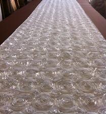"""75 ft Rosette Satin Aisle Runner 54"""" Wide 3D Fabric 22 Colors Spiral Ribbon Rose"""