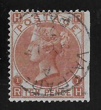 GB Victoria SG113 Scott 53, 10d. Pale Brown, R-K, Used Valparaiso, Chile, Good