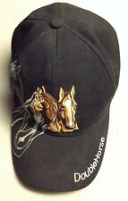 Black DoubleHorse Embroidered  Baseball Cap  Acrylic/Wool Adjustable
