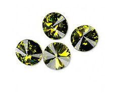 6 Olivine Swarovski Crystal Foiled 1122 Rivoli Stone 12mm