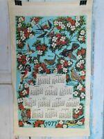 1977 Vintage Print Linen Wall Calendar Tea Towel Birds Flowers Unused Craft A10