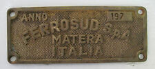 ferrosud spa matera, targa ferroviaria, in ottone , 1977 RARA!