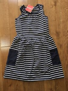 NEW NWT Hanna Andersson Girl So Breezy Sundress Navy White Stripe Dress 150