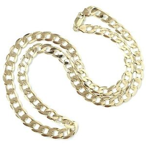 9ct Gold Curb Chain Solid Links Yellow Gold 7mm Wide 20 Inches 30.2g Hallmarked