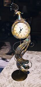 """Gorgeous Peacock Analog Table Top Clock 18"""" Tall Home Decor"""